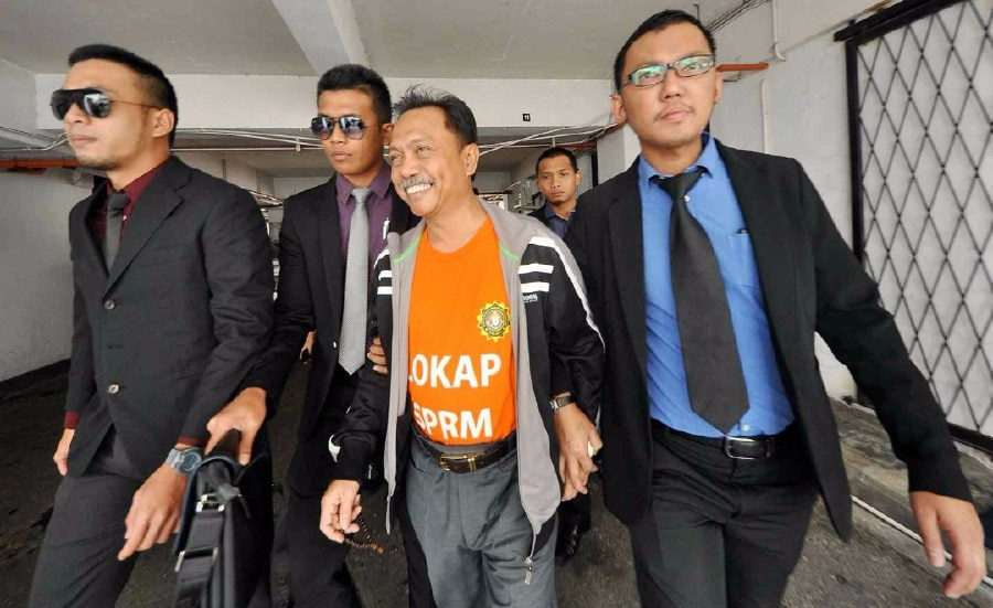 Lahad Datu assemblyman Datuk Yusof Apdal (second from right) was arrested to facilitate ongoing investigations.