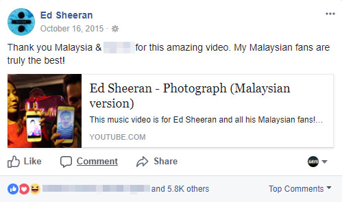 Image from Ed Sheeran (Facebook)