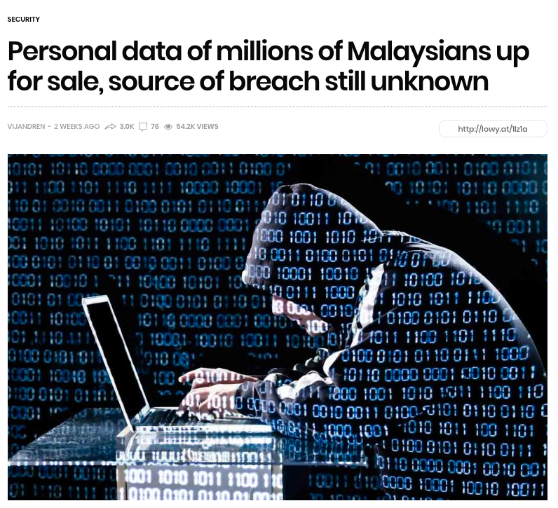 Malaysian authorities narrowing down source of colossal personal data leak