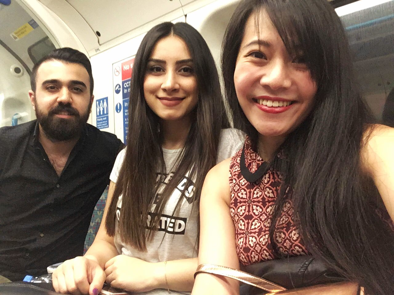 My Turkish friends and I on the way to try Malaysian food in London's Malaysia Hall.