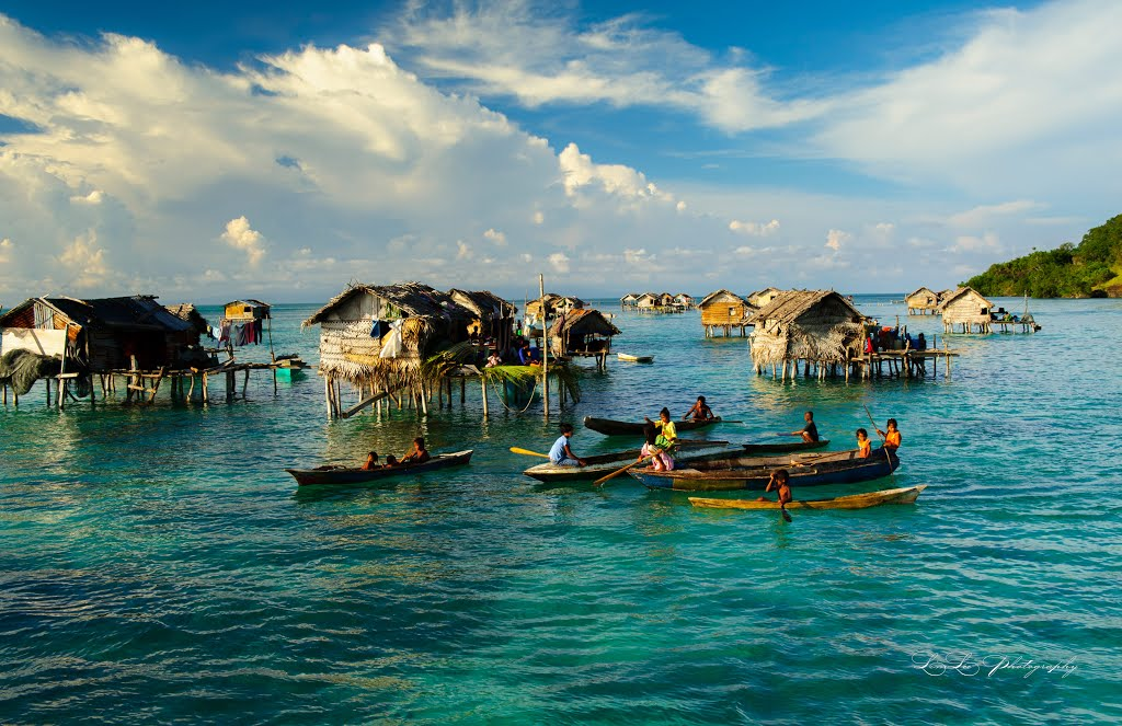 Bajau Laut stilt houses in Bodgaya Island.