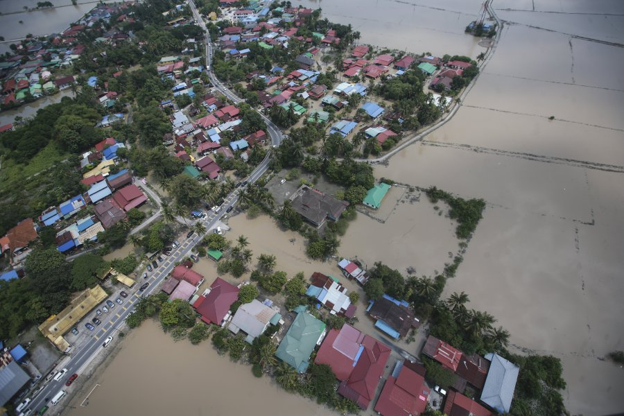 An aerial view showing the flood situation in Seberang Perai.