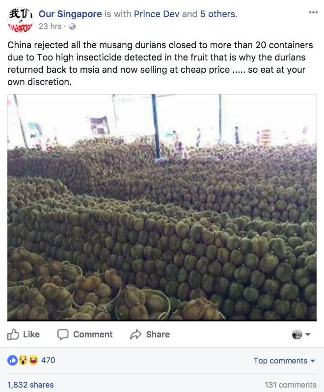 China Rejected Musang King Durians Due To High Levels Of