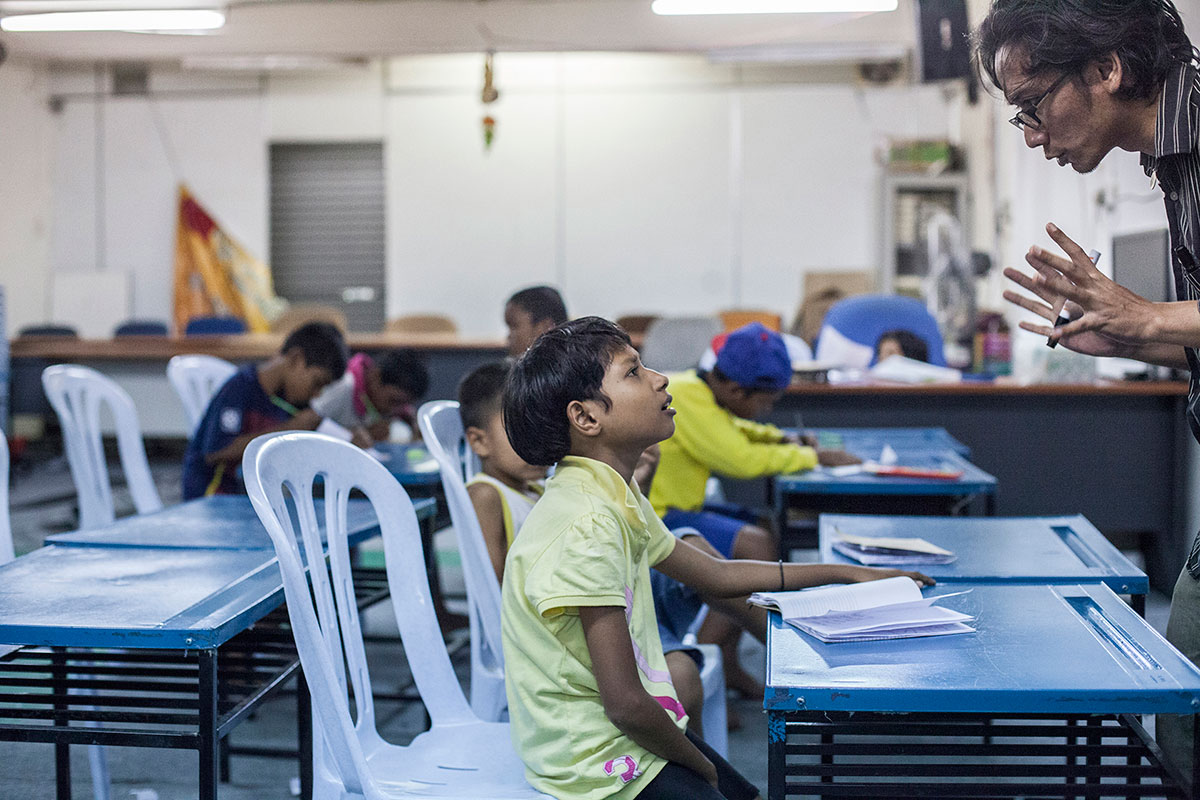 Students at the Floating Children School in Cheras.