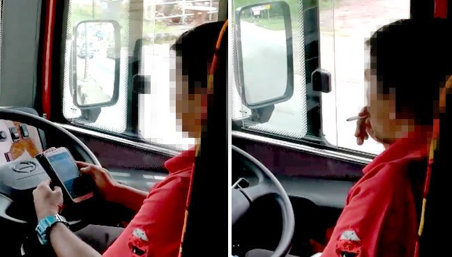 An express bus driver using a mobile phone and smoking while driving to the Tangkak toll plaza from KL.