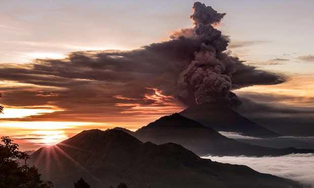 Mount Agung volcano spewing smoke and ash in Bali on Sunday, 26 November.