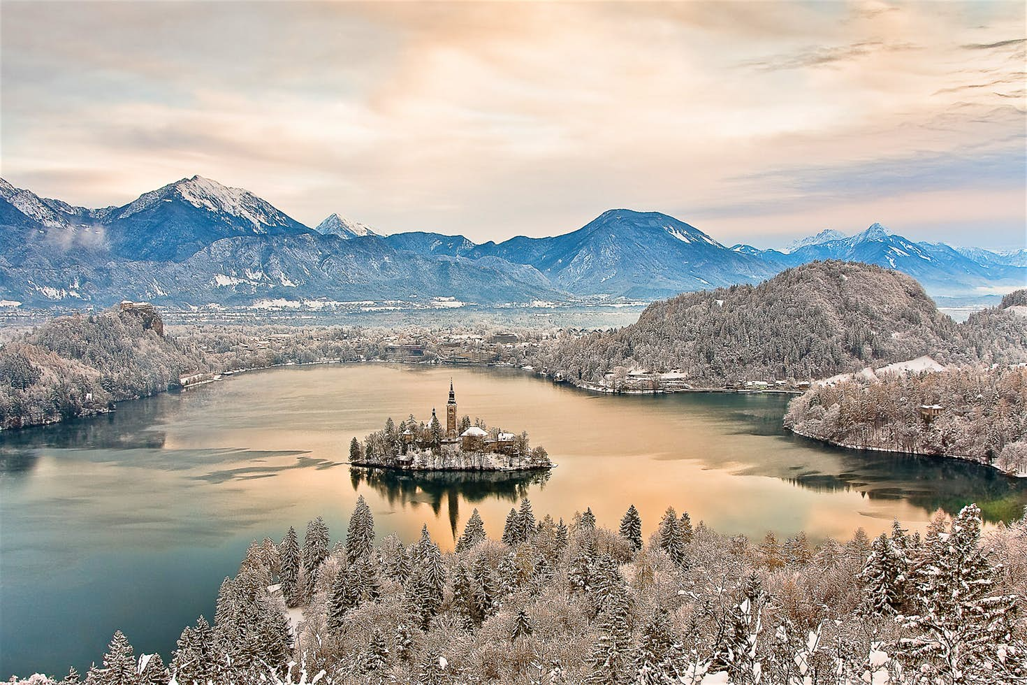Lake Bled in winter.