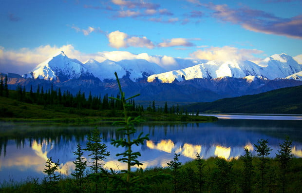 A campground by the Wonder Lake in Alaska's Denali National Park.
