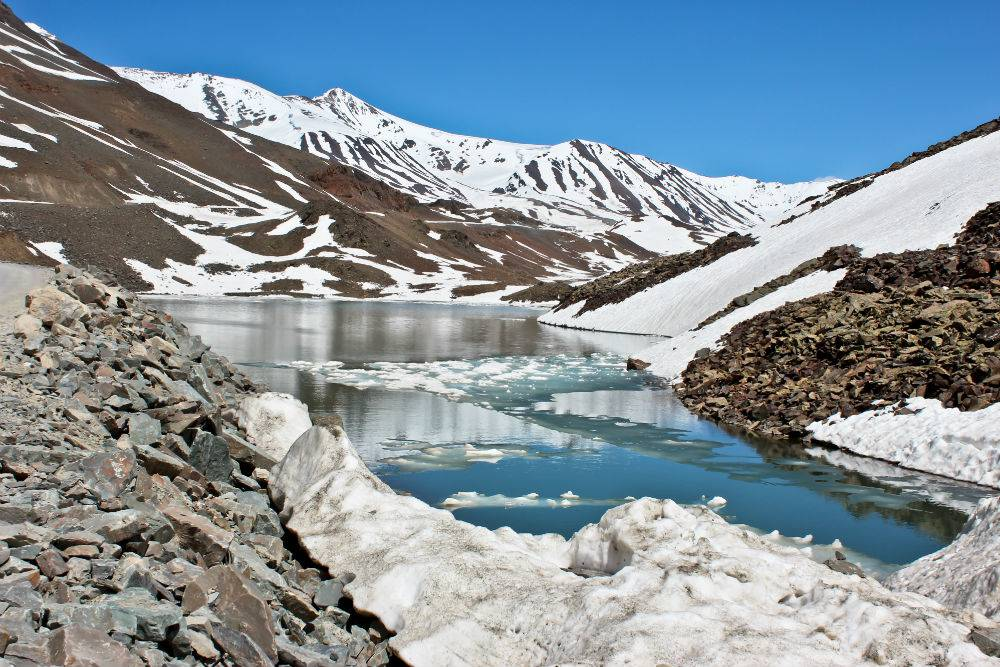 The snow-covered mountains of Lahaul.