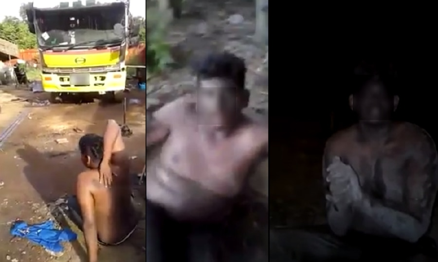 Screenshots from the video of the boy being beaten.