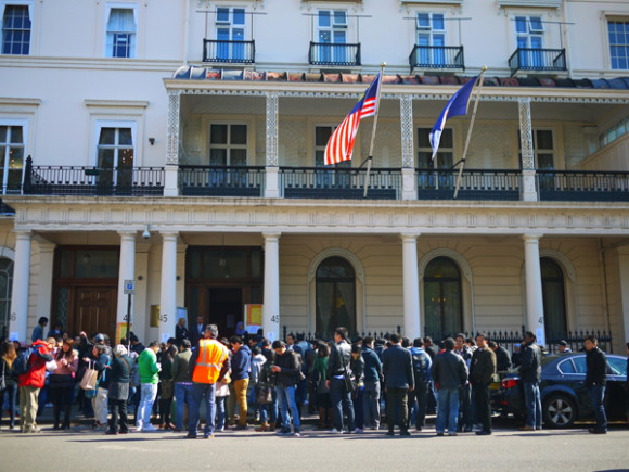 Malaysians waiting in line to cast their votes outside the Malaysian High Commission in London during the 13th General Election in May 2013.