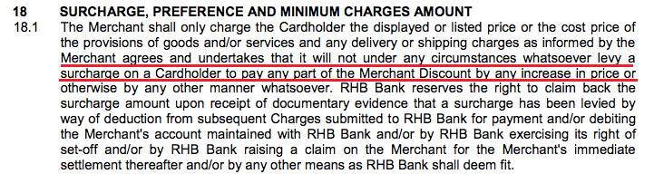 A screenshot of an excerpt from RHB Bank's Merchant Agreement: General Terms And Conditions document.