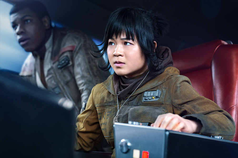 Kelly Marie Tran as Rose Tico (right) with Finn (left, played by John Boyega).