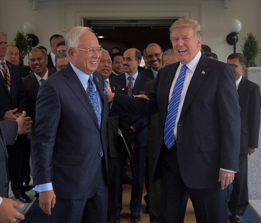 Prime Minister Datuk Seri Najib Tun Razak with American President Donald J. Trump at the White House on 12 September.