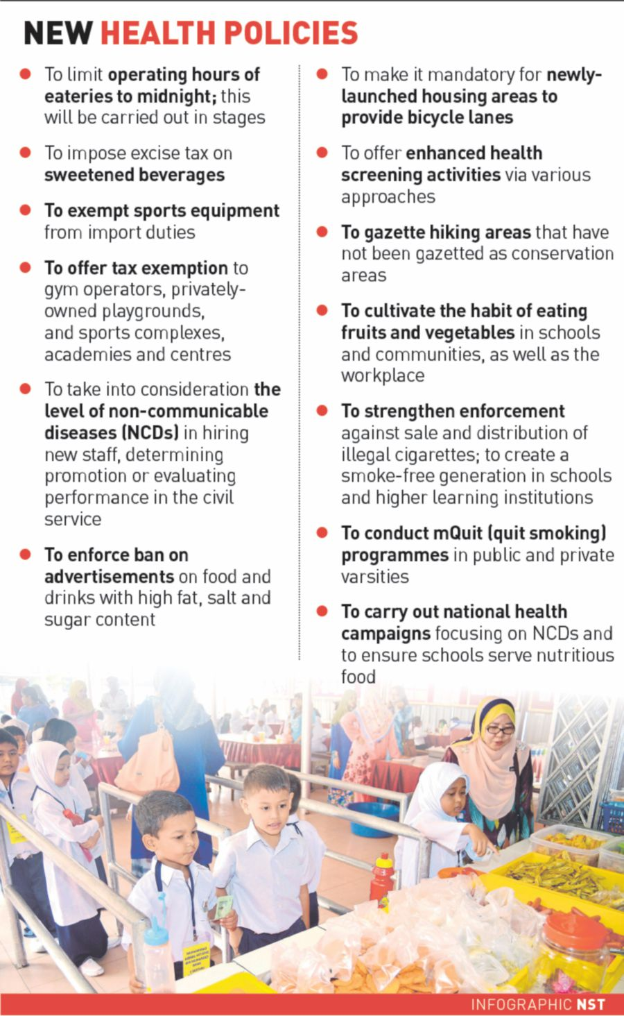 The 13 key policies the Health Ministry may implement to build a healthier Malaysia.