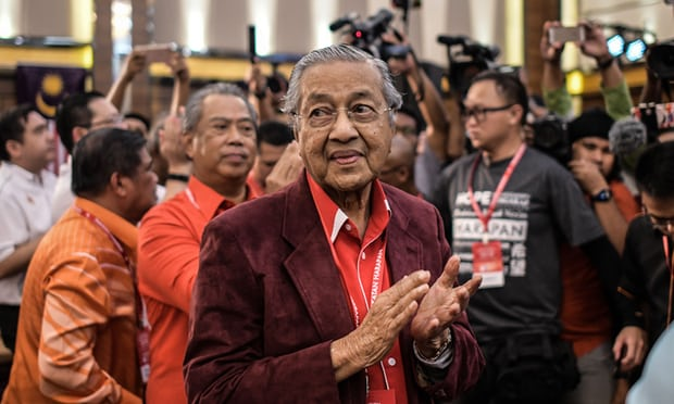 Tun Dr Mahathir Mohamad shortly after being elected as the opposition's prime ministerial candidate yesterday, 7 January.