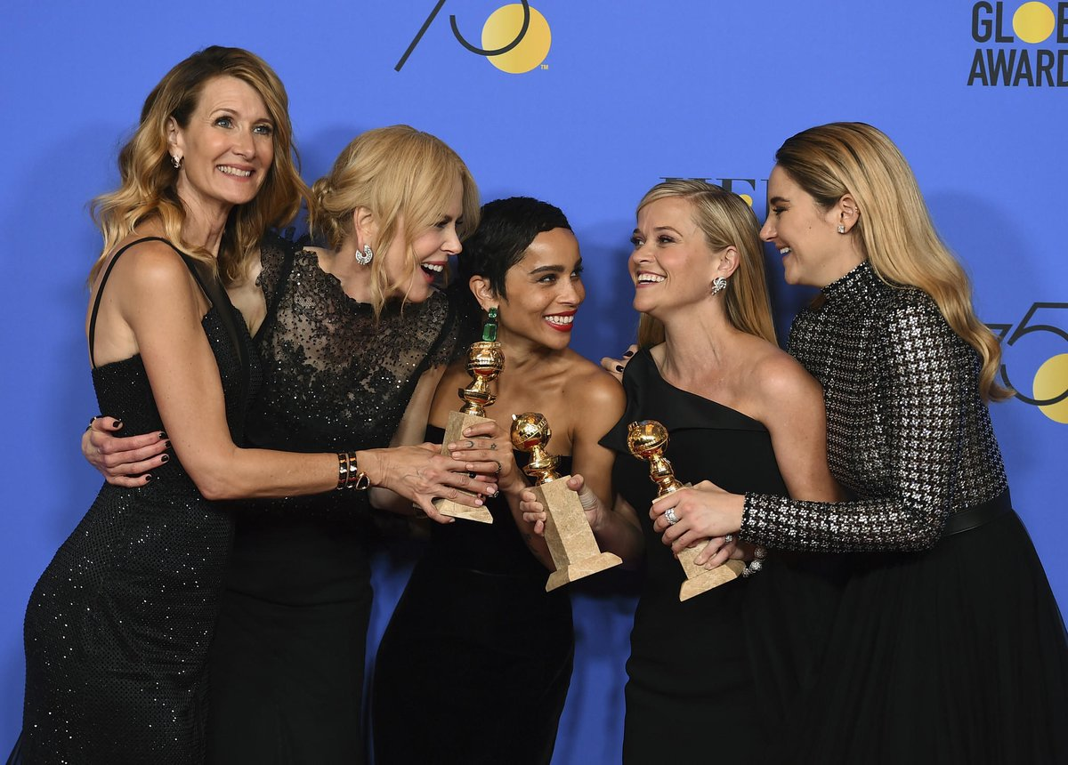 From left: Laura Dern, Nicole Kidman, Zoe Kravitz, Reese Witherspoon, and Shailene Woodley of HBO's 'Big Little Lies'. The hit TV show bagged four awards at the Golden Globes.