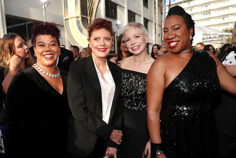 From left: Activist Rosa Clemente, actors Susan Sarandon and Michelle Williams, and #MeToo founder Tarana Burke.