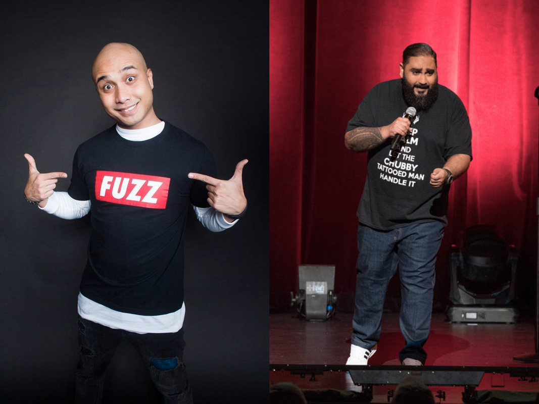Singaporean comedian Fakkah Fuzz (left) and Malaysian stand-up comic Kavin Jay (right).