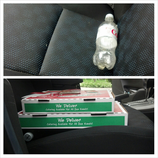 10. Balance your pizza boxes in the car with a bottle