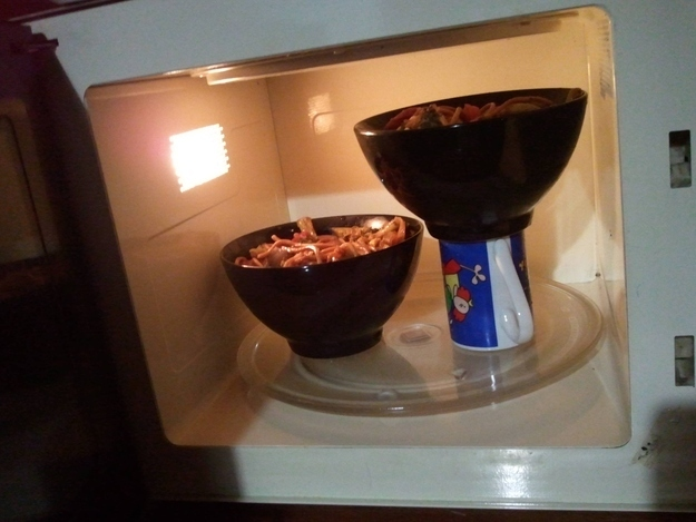 9. Save time and electricity by microwaving multiple items at once