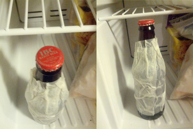12. Cool a drink quickly by wrapping a wet paper towel around it and throwing it into the freezer