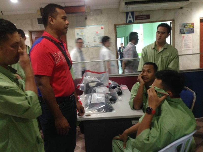 Some of the firemen and officers receiving treatment at HKL.