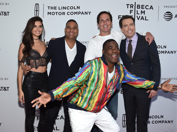 Russell Peters (standing, second from left) at 'The Clapper' premiere in the 2017 Tribeca Film Festival.
