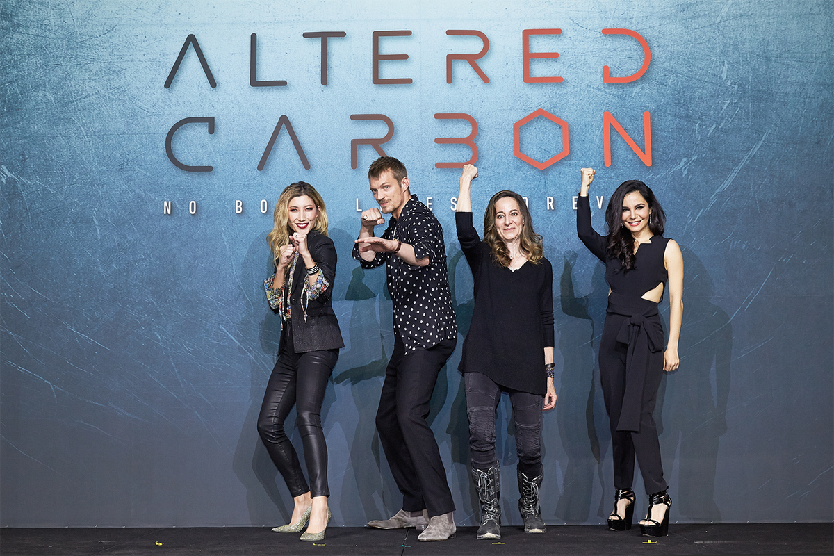 From left: Dichen Lachman, Joel Kinnaman, showrunner Laeta Kalogridis, and Martha Higareda.