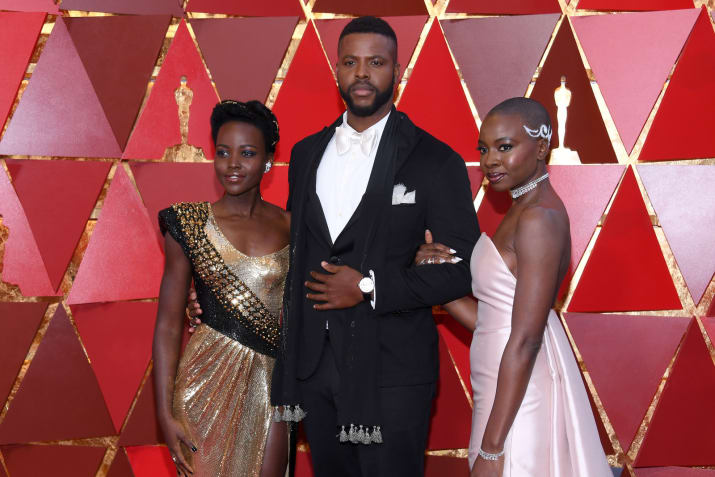 From left: Lupita Nyong'o, Winston Duke, and Danai Gurira.