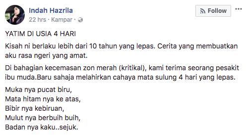 Image from Indah Hazrila / Facebook