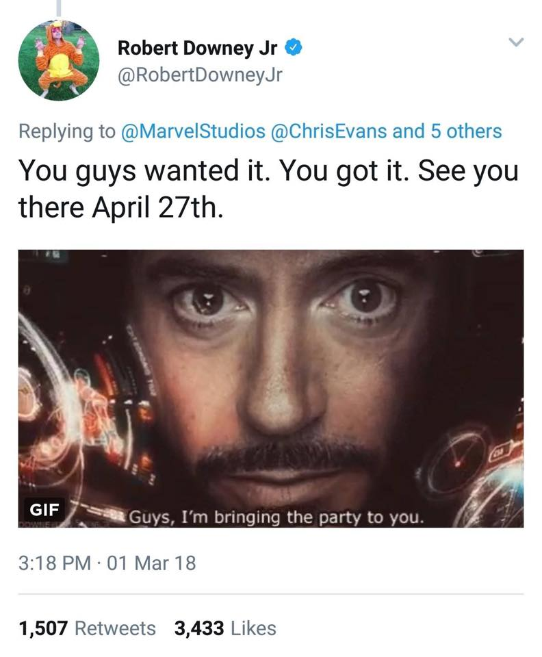 Image from Robert Downey Jr Facebook