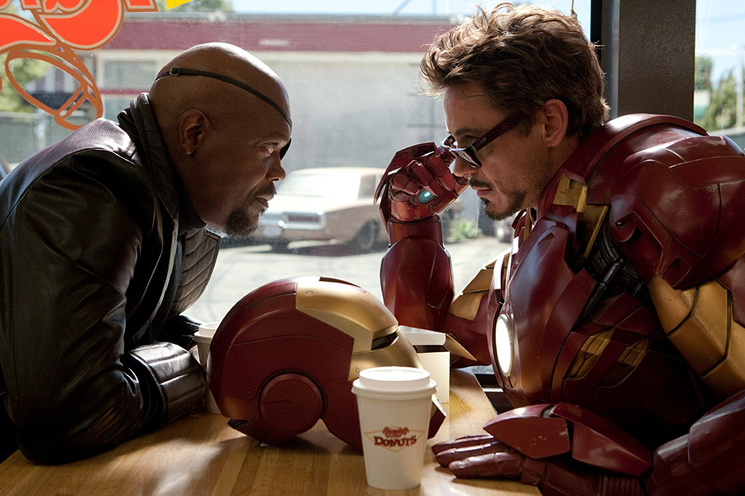 Nick Fury (Samuel L. Jackson, left) and Tony Stark/Iron Man (Robert Downey Jr.) in 'Iron Man 2' (2010).
