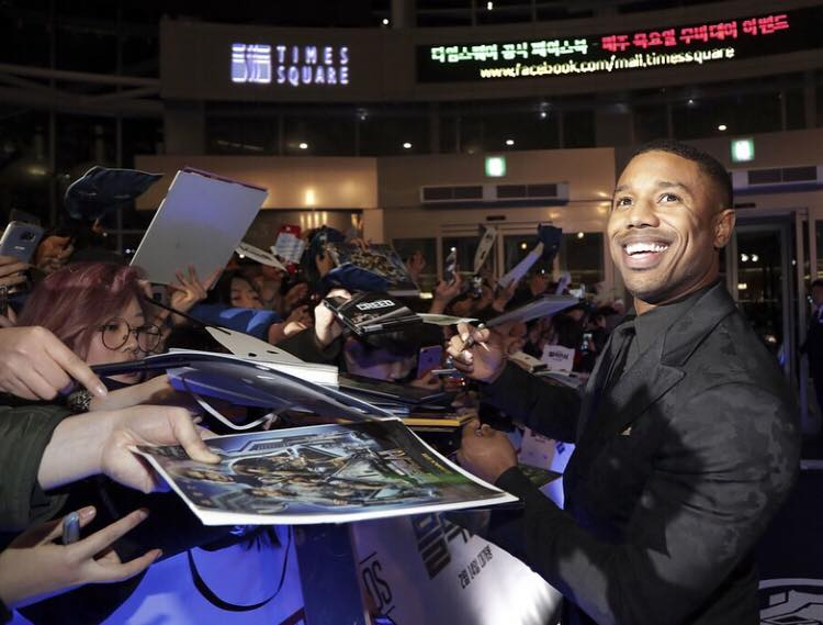 Michael B. Jordan (Erik Killmonger) at the South Korean premiere of 'Black Panther'.