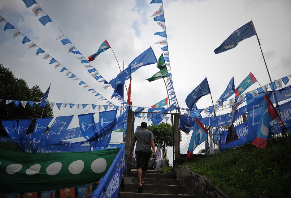 Flags of political parties on display ahead of the 13th General Election in 2013.