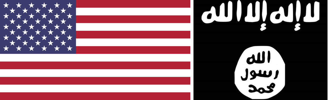 American flag (left) and ISIS flag (right)