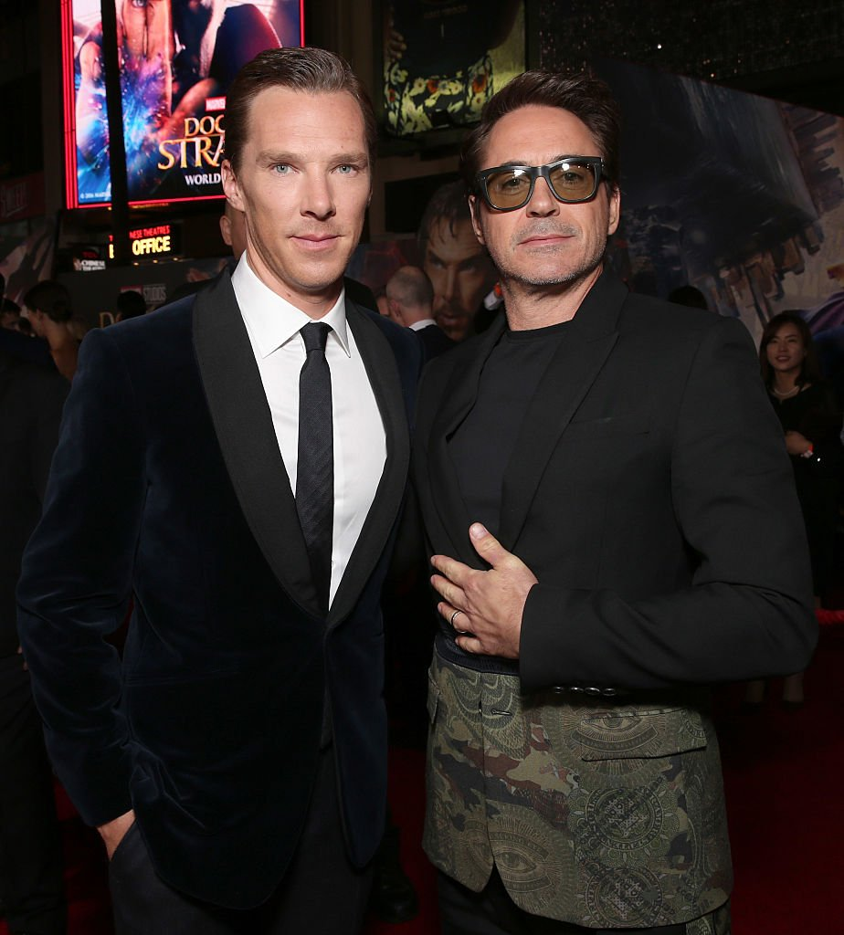 Benedict Cumberbatch (left) and Robert Downey Jr. (right) at the LA premiere of 'Doctor Strange' on 4 November 2016.