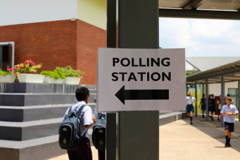 The EC will usually use schools and public buildings as polling stations.