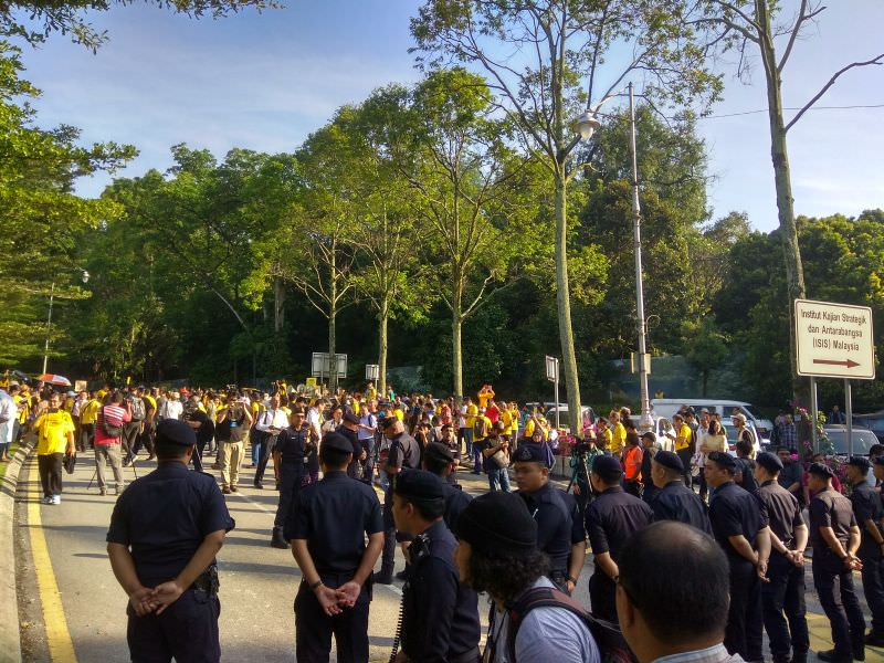 Protesters gathered at the National Monument on Jalan Parlimen this morning.