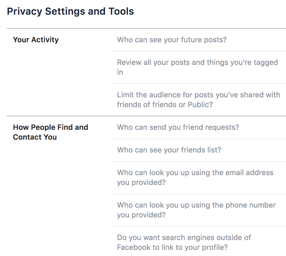 Image from Facebook Settings