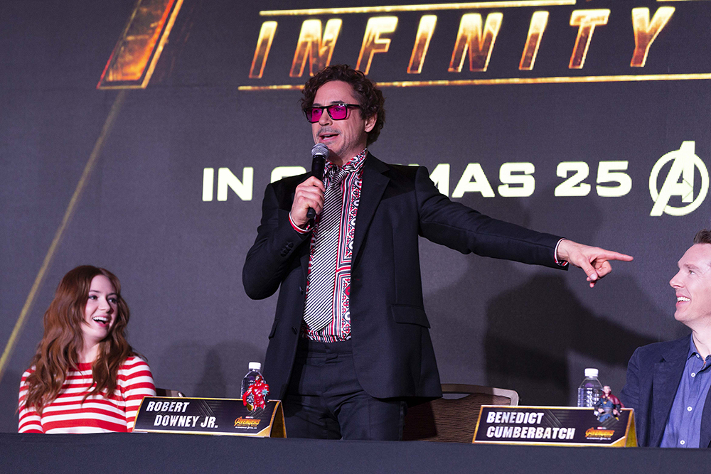 From left: Karen Gillan, Robert Downey Jr., and Benedict Cumberbatch at the 'Avengers: Infinity War' press conference in Singapore on 15 April 2018.
