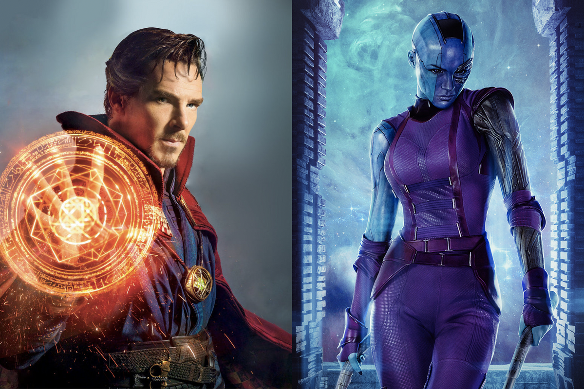 Benedict Cumberbatch as Doctor Strange (left) and Karen Gillan as Nebula (right).