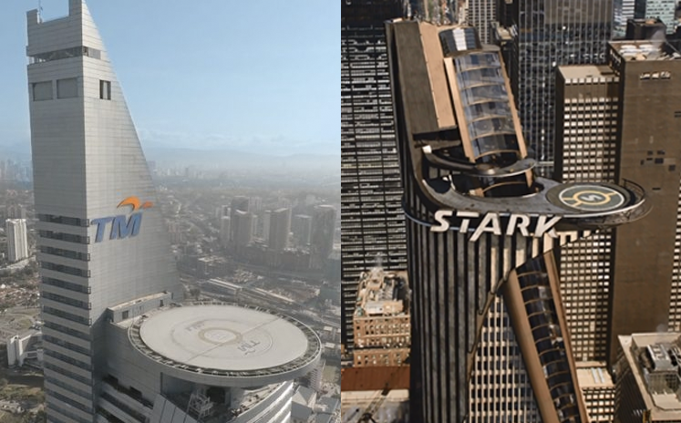 TM Tower a.k.a. Menara Telekom (left) and Stark Tower in 2012 'Avengers' (right).