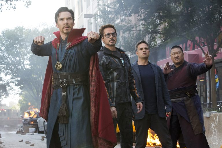 From left: Doctor Strange, Tony Stark, Bruce Banner, and Wong in 'Avengers: Infinity War'.