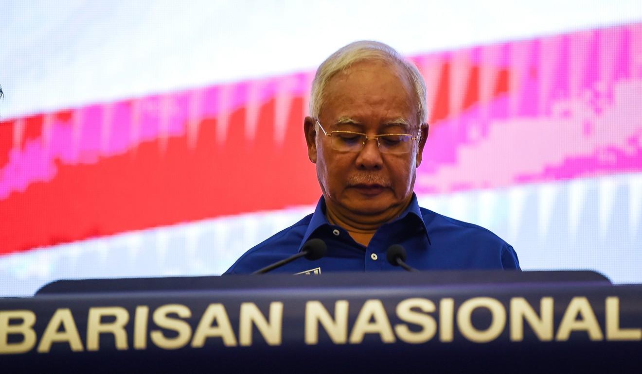 Najib Razak at a press conference this afternoon, 10 May.