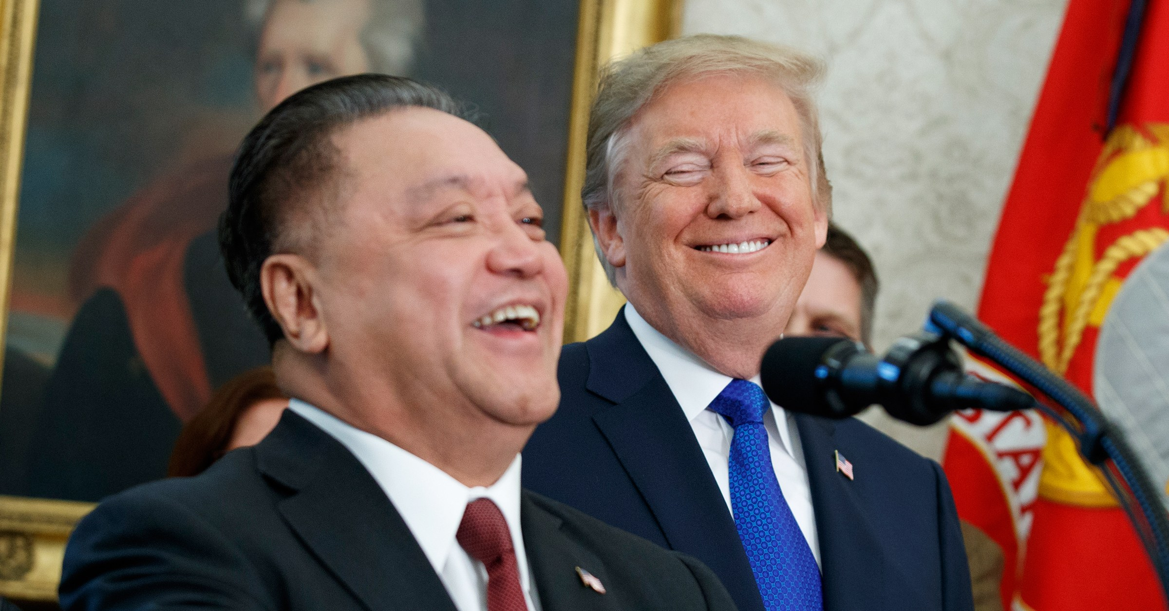 Tan Hock Eng in the Oval Office together with US President Donald Trump.