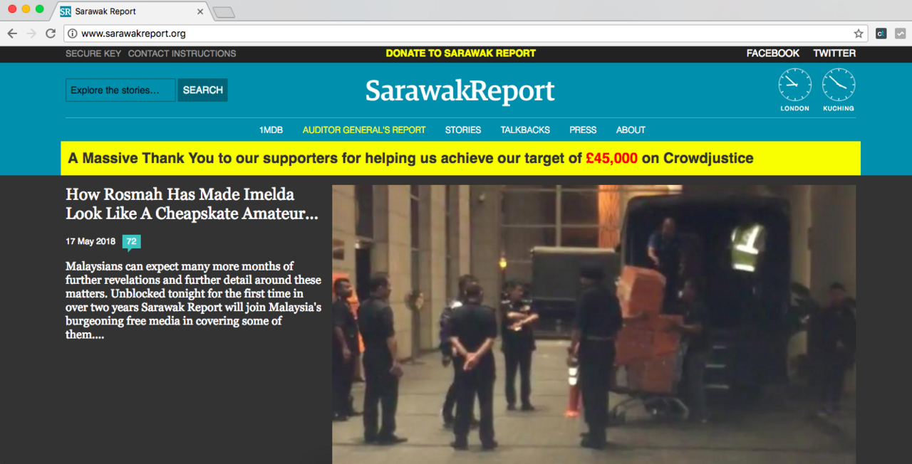 Sarawak Report is no longer blocked in Malaysia.