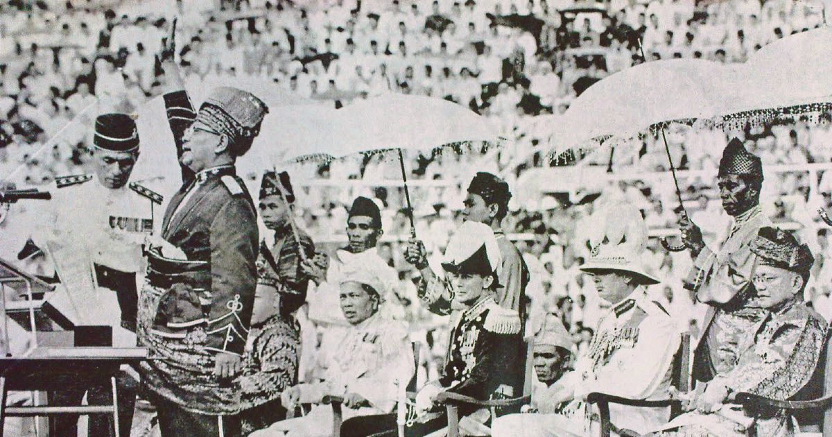 Tunku Abdul Rahman during the Proclamation of Indpendence in 1957.