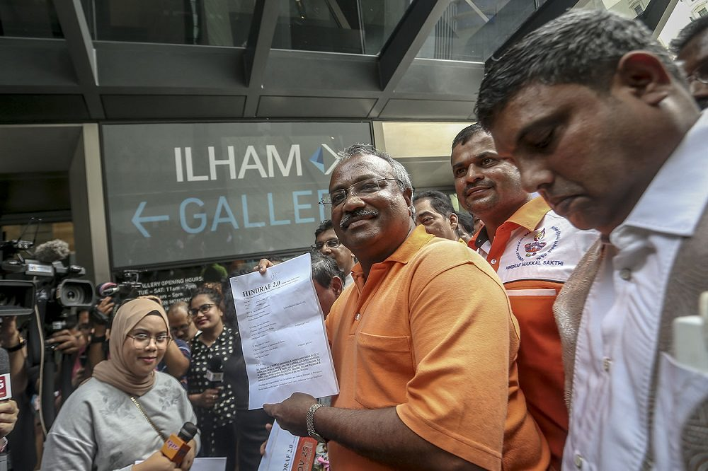Leader of Hindraf 2.0 P. Uthayakumar at Ilham Tower before he handed the 25-point memorandum to the Council of Elders.