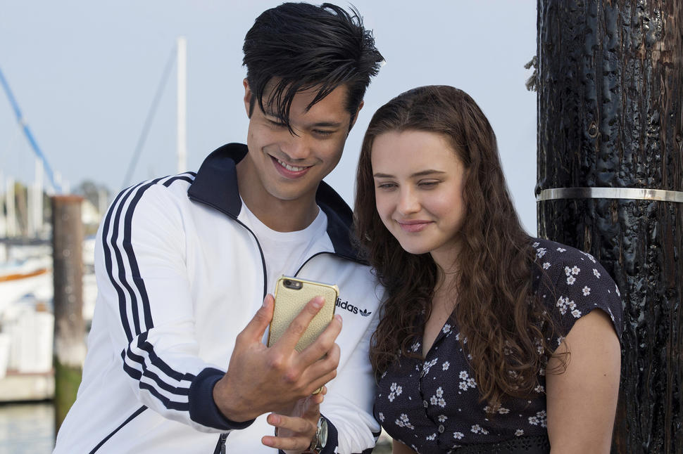 Ross Butler as Zach Dempsey (left) and Katherine Langford as Hannah Baker (right)